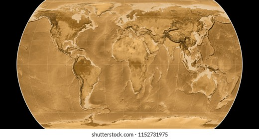 World map in the Canters Pseudocylindric projection centered on 11 East longitude. Sepia tinted elevation map - raw composite of raster with graticule