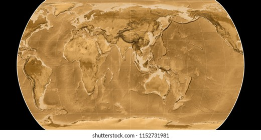 World map in the Canters Pseudocylindric projection centered on 90 East longitude. Sepia tinted elevation map - raw composite of raster with graticule
