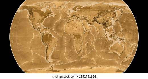 World map in the Canters Pseudocylindric projection centered on 11 East longitude. Sepia tinted elevation map - composite of raster with graticule and tectonic plates borders