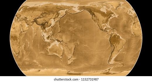 World map in the Canters Pseudocylindric projection centered on 170 West longitude. Sepia tinted elevation map - raw composite of raster with graticule