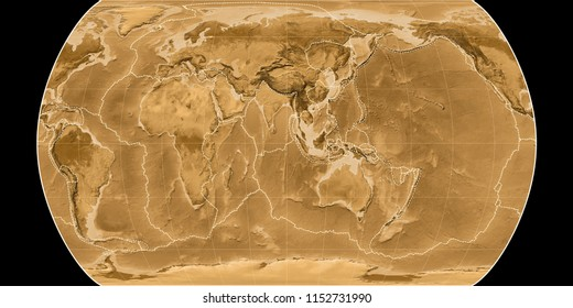 World map in the Canters Pseudocylindric projection centered on 90 East longitude. Sepia tinted elevation map - composite of raster with graticule and tectonic plates borders