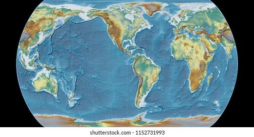 World map in the Canters Pseudocylindric projection centered on 90 West longitude. Topographic relief map - raw composite of raster with graticule