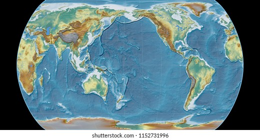 World map in the Canters Pseudocylindric projection centered on 170 West longitude. Topographic relief map - raw composite of raster with graticule