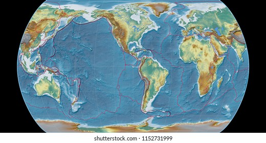 World map in the Canters Pseudocylindric projection centered on 90 West longitude. Topographic relief map - composite of raster with graticule and tectonic plates borders