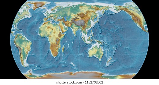 World map in the Canters Pseudocylindric projection centered on 90 East longitude. Topographic relief map - raw composite of raster with graticule