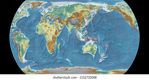 World map in the Canters Pseudocylindric projection centered on 90 East longitude. Topographic relief map - composite of raster with graticule and tectonic plates borders