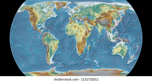 World map in the Canters Pseudocylindric projection centered on 11 East longitude. Topographic relief map - composite of raster with graticule and tectonic plates borders