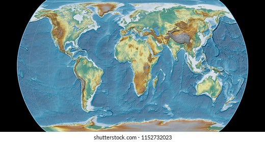 World map in the Canters Pseudocylindric projection centered on 11 East longitude. Topographic relief map - raw composite of raster with graticule