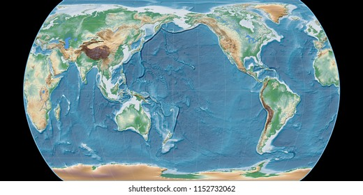 World map in the Canters Pseudocylindric projection centered on 170 West longitude. Colored shader, elevation map - raw composite of raster with graticule
