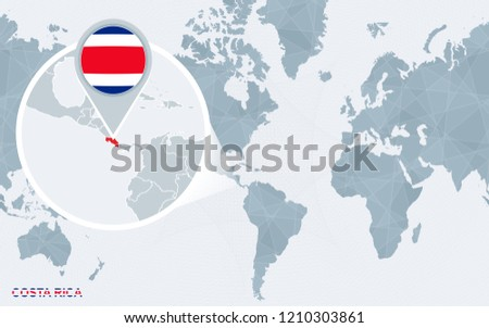 World Map Centered On America Magnified Stock Illustration ...