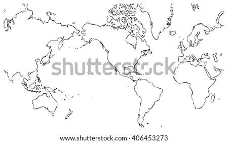 World Map Centered On United States Stockillustration 406453273 ...