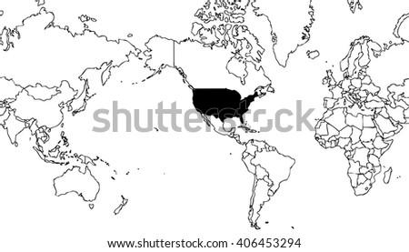 World Map Centered On United States Stock Illustration Royalty