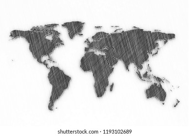 World map chalk board isolated on white background. 3D render