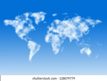 World map from clouds.