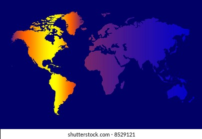 World Map - Colour Time Zone Concept, Dark Background