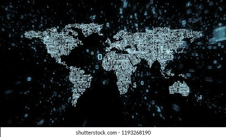 World map as computer circuitry with particle streams of data