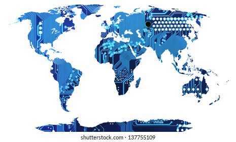 World map, continents in circuit board background.