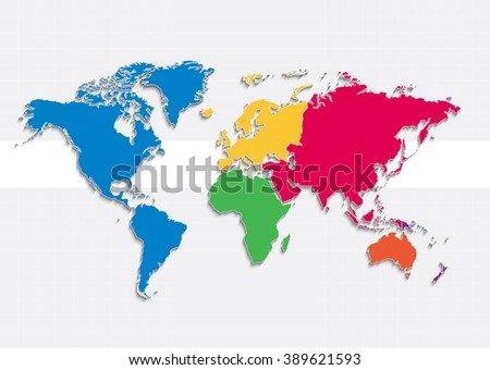 World Map Continents Colors Raster Individual ...