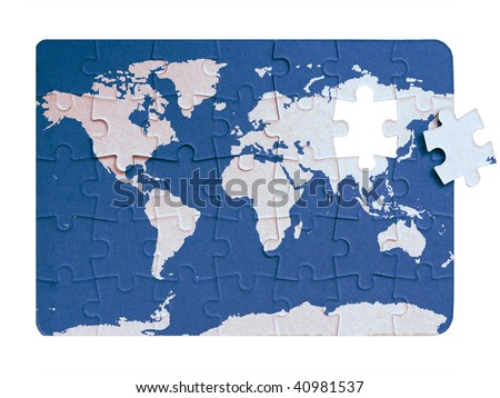 World Map Continents Ocean On Puzzle Stock Illustration Royalty