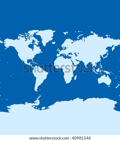 World Map Continents Ocean On Blue Stock Illustration - Royalty Free ...