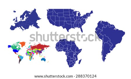 World Map Continents USA Pack Stock Illustration 288370124 ...