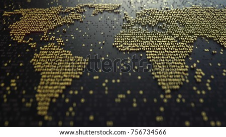 World map contour made of golden numbers. Modern digital technology, economic globalization or worldwide data transfer concepts. 3D rendering