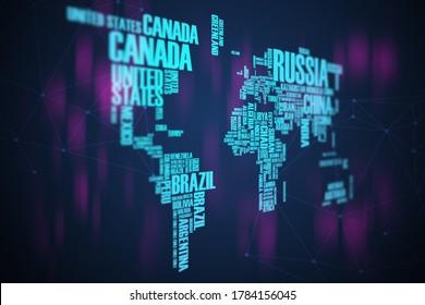 Mapa mundial: países texto palabra nube fondo abstracto moderno