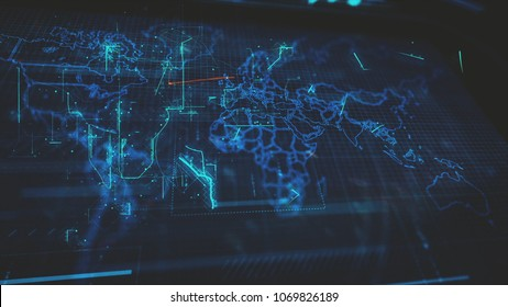 World Map, Cryptocurrency, Internet of Things, Big Data, Network Connections Concept.