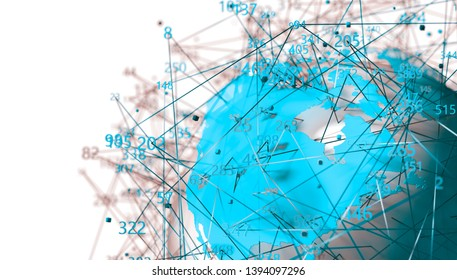 World map and data structure. Communication and technology abstract background.Data science and big data concept.3d illustration