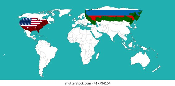 world map decorated USA by USA flage and Russia by Russia flage /Elements of this image furnished by NASA/3d rendering