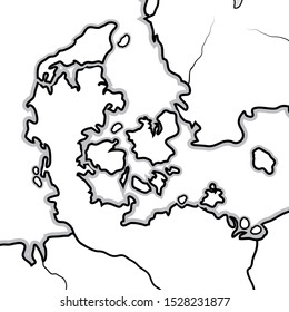 World Map of DENMARK: Denmark, Jutland, Zealand, Scandinavia, North Europe, North Sea. Geographic chart with sea coastline and islands.