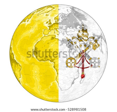 Vatican City On World Map.Royalty Free Stock Illustration Of World Map Depiction Flag Vatican