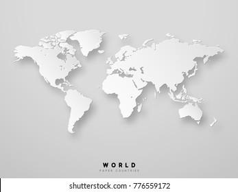 World map detailed design in white color  illustration. 3D paper.