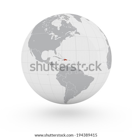 Where Is The Dominican Republic On A World Map.World Map Dominican Republic America Stock Illustration Royalty