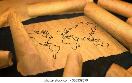 World Map Drawing Unfolding Old Paper Scroll 3D