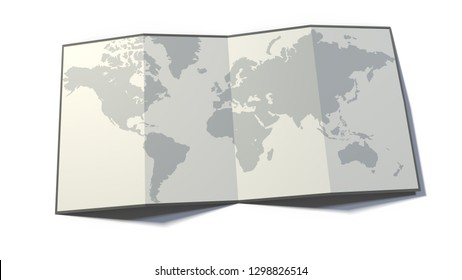 World map, drawn on a folded sheet, planisphere leaning on a surface, 3d rendering