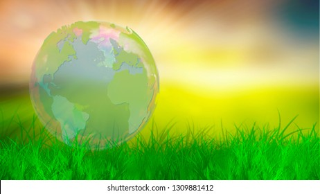 World map in a Earth Globe on green grass and sunlight outdoor background. Empty copy space for Editor's text.