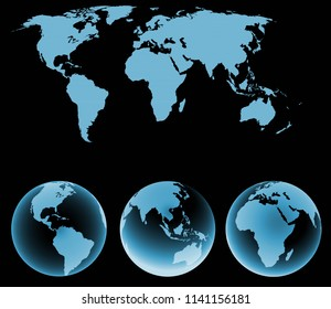 World map with earth globes isolated on black.