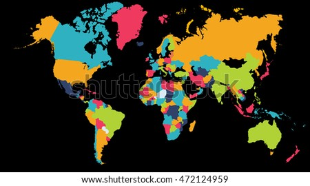 World Map Asia And Europe.World Map Europe Asia North America Stock Illustration 472124959