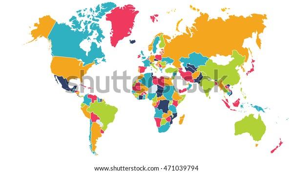 World Map Europe Asia North America Stockillustration 471039794