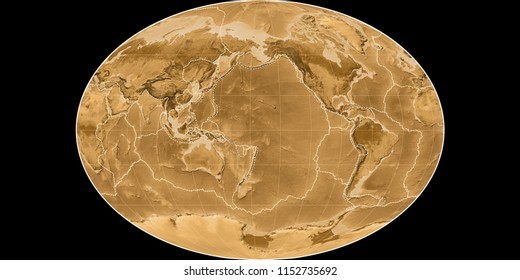 World map in the Fahey projection centered on 170 West longitude. Sepia tinted elevation map - composite of raster with graticule and tectonic plates borders