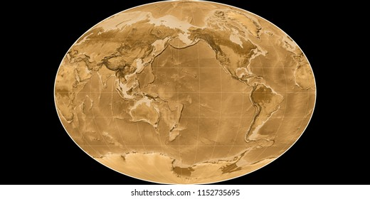 World map in the Fahey projection centered on 170 West longitude. Sepia tinted elevation map - raw composite of raster with graticule