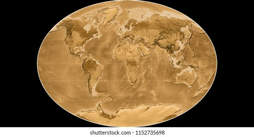 World map in the Fahey projection centered on 11 East longitude. Sepia tinted elevation map - raw composite of raster with graticule