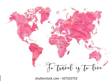 World map filled with pink watercolour effect and country names, with plenty of space to insert your own quote under the image.
