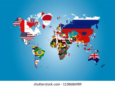 Political Map World Flags Stock Vector Royalty Free 467763434