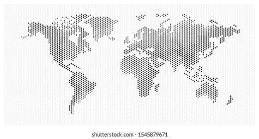 world map flat pixel dots with Oceans in the design of points dots. Planet Earth background Dotted relievo banner. All the relief continents of the world in one picture of pixel Dotted perforation.