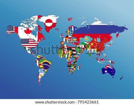 World Map Geography Nation Flag America Stock Illustration Royalty
