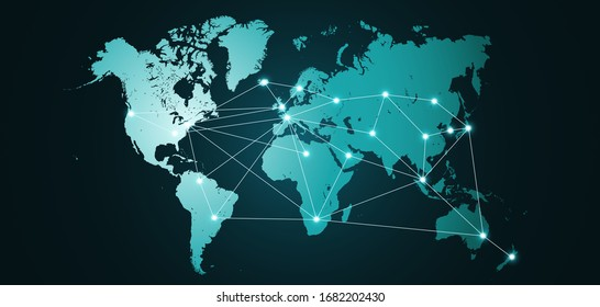 World map. Global network connections