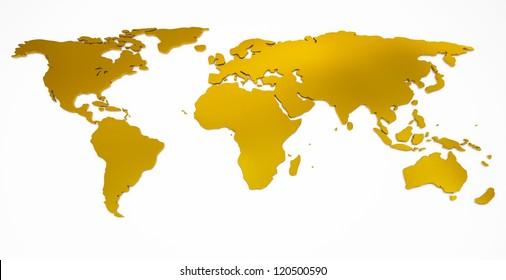 world map golden