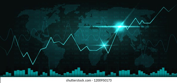 World map with graph in graphic concept suitable for financial investment or Economic trends business idea and all art work design. Abstract finance background